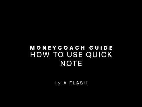 How To Use Quick Note - MoneyCoach App Guide